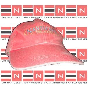 NANTUCKET ISLAND Pink Denim Leather Strapback Hat